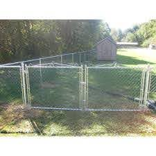 Hoover Fence Residential Chain Link Fence Double Swing Gates 1 3 8 Galvanized Frame Hoover Fence Co
