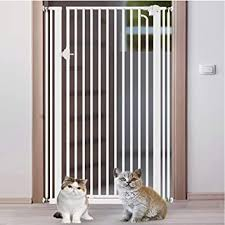 Amazon Com Extra Tall Pet Gate For Dogs Cats Baby Barrier For Doorways Stair Hallway White Metal Indoor Safety Gates Size Width 104 106cm Baby