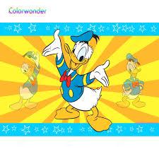 Nền Chụp Ảnh Trắng Vịt Donald 7x5ft Vàng sọc Cam Xanh Dương viền ...