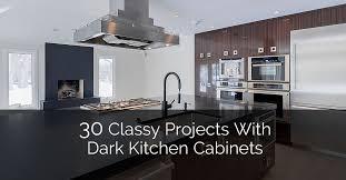 with dark kitchen cabinets
