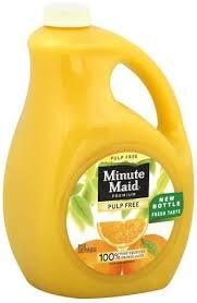 minute maid pulp free orange juice 89