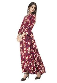 Buy RUDRAKRITI Women Crepe fit and flary Maxi Dress at Amazon.in