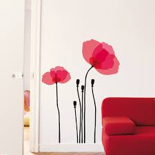 Wall Decals Pink Poppy Wall Decor Decals Wall Decals Pink Poppies