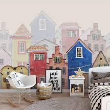 Custom Mural Wallpaper For Kids Room Cartoon City Building Bvm Home
