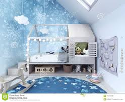 Child Room Kids Bedroom With Blue Carpet And Toys Stock Photo Image Of Snowflakes Furniture 113979088