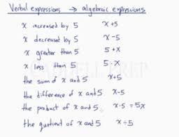 verbal to algebraic expressions equations