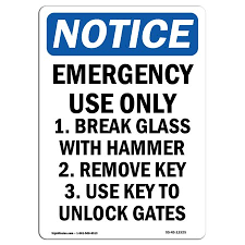 Osha Notice Sign Emergency Use Only 1 Break Glass 14 X 10 Decal Protect Your Business Construction Site Warehouse Walmart Com