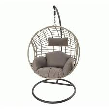 wicker hangchair grey