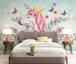 Hand Painted Unicorn Flower Butterfly Children S Room Background Wall Sbp Art