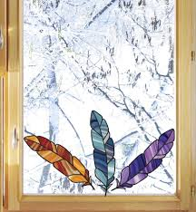The Decal Store Com By Yadda Yadda Design Co Clr Wnd Stained Glass Feather Bird Feathers See Through Vinyl Wi
