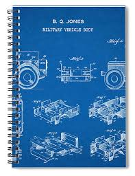 Patent Drawing for the 1942 Willys JEEP Military Vehicle Body by Byron Q.  Jones Spiral Notebook for Sale by StockPhotosArt Com