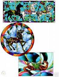 carousel animals stained glass pattern