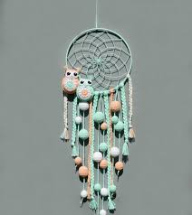 Nursery Dream Catcher Wall Hanging Mint And Peach Decor For Etsy