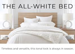 white bedding pottery barn