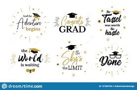 inspirational grad party quotes to congrat graduates stock vector