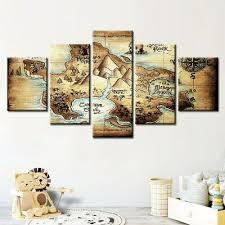 Neverland Map Nursery Peter Pan Five Piece Framed Canvas Home Decor Wall Art 5 Ebay