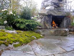 rustic outdoor fireplace traditional