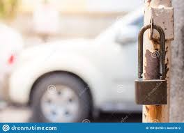 The Padlock On The Old Iron Fence Gate Stock Image Image Of Control Lock 159124153