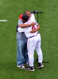 Terry Pendleton hugging his son after his son sang The National Anthem | Terry  pendleton, Atlanta braves, Singing the national anthem