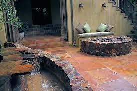 fireplace patio pond waterfall