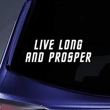 Amazon Com Bargain Max Decals Live Long Prosper Spock Vulcan Sticker Decal Notebook Car Laptop 8 White Automotive