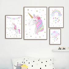 Rainbow Unicorn Wall Art Bebeandboo Com