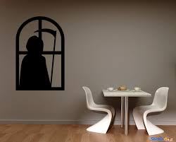 Grim Reaper Window Silhouette Vinyl Wall Decal Graphics Halloween Home Decor