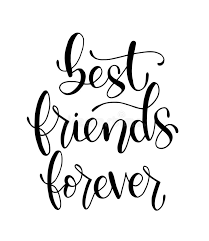 best friends forever hand lettering motivational quotes stock