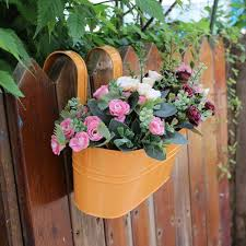 Garden Balcony Plant Planter Fence Bucket Flower Holders Iron Hanging Flower Plant Pots With Detachable Hook For Home Decoration Flower Pots Planters Aliexpress