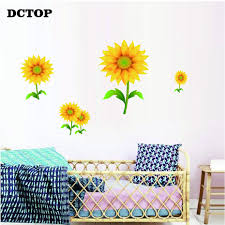 Nursery Sunflower Stickers On Wall Art Vinyls Yellow Flowers Decals For Kids Baby Room Classroom Door Home Decorative Wallpaper Wall Stickers Aliexpress