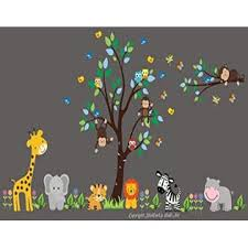 Nursery Wall Decals Nursery Room Wall Decals Safari Animal Stickers Jungle Animal Decals Nursery Wall Art Large Tree Decal Baby Wall