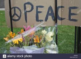 Peace Sign And Symbol Written On A Cardboard On A Fence With Flowers Stock Photo Alamy