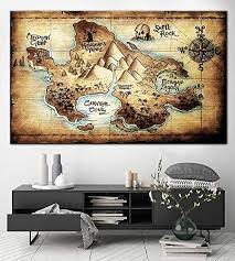 Amazon Com Fashion Canvas Painting Neverland Map Print Wall Art Multipanel Set Canvas Print Peter Pan Map Of Never Land Wall Decor Map Print Map Poster 60x90cm Home Improvement