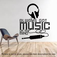 Art New Design Allways Got Music On My Mind Wall Sticker Home Decor Headset Wall Decal Removable House Decoration Earphone Decal Wall Decals Music Designhouse Decoration Aliexpress
