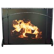 single panel steel fireplace screen