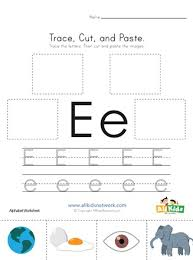 trace cut and paste letter e worksheet