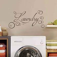 Amazon Com Laundry Room With Bubbles Wall Decal Laundry Room Vinyl Wall Art Home Decor Bubbles Wall Sticker White Xs Kitchen Dining