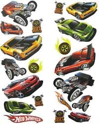 Hot Wheels Race Cars Wall Stickers 20 Decals Decor Room Hot Wheels Room Baby Boy Bedding Hot Wheels Wall