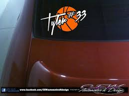 Basketball Decal Sports Decal Car Vinyls Window Vinyl Decal Sticker Graphic Basketball Decal With Childs Na Stick Figure Family Family Decals Window Decals