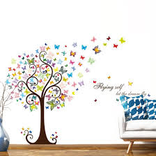 Shop Butterflies Tree Pattern Wall Sticker Self Stick Decal For Living Room White Overstock 29169718