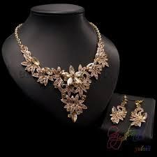 big stone pendant jewelry set new gold