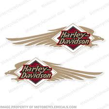 Harley Davidson Fxstc Softail Decals Gold White Set Of 2 Fuel Tank Decal