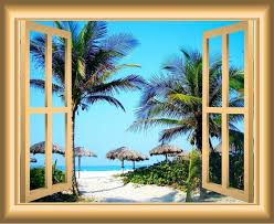 Vwaq 3d Sandy Beach Window Decal Tropical Wall Decals By Vwaq Vinyl Wall Art Quotes And Prints