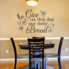 Amazon Com Battoo Give Us This Day Our Daily Bread Vinyl Wall Decal Quote Matthew 6 11 Scripture Dining Room Kitchen Decor Bible Verses Wall Quotes 30 Wide By 19 5 Tall Black Home Kitchen
