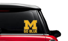 Uofm University Of Michigan Wolverines Go Blue Decal Car Etsy