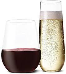 plastic wine glasses and champagne