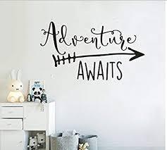 Amazon Com Art Travel Theme Decal Adventure Awaits Quote Arrow Vinyl Wall Decals Living Room Decor Wall Sticker Art Adventure Mural For Kids Bedroom Ny 360 Black 42x76cm Baby