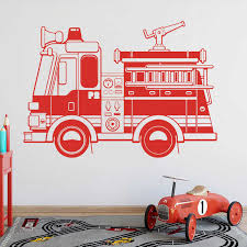 Large Firetruck Fire Truck Wall Sticker Boy Room Playroom Fire Car Vehicle Construction Truck Wall Decal Vinyl Decor Wall Stickers Aliexpress