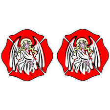 Guardian Angel Maltese Cross Helmet Decal Pair At Sticker Shoppe