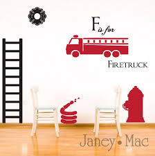 Reserved Wall Decal Firefighter Set Childrens Kids Boy Bedroom Room Decor Fire Truck Fire Hydrant Fire Host Emble Room Decals Kid Room Decor Firefighter Room